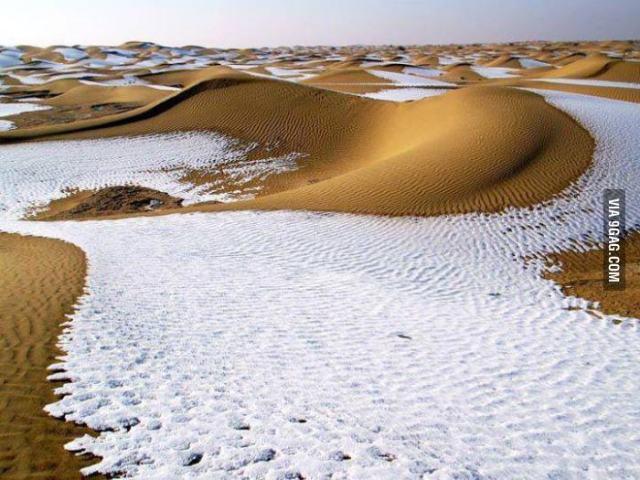 Snow in the Algerian desert